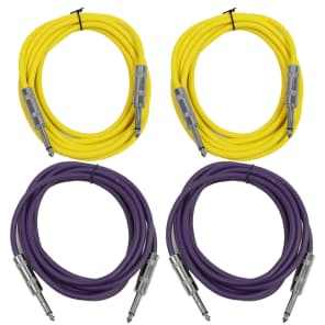 """Seismic Audio SASTSX-10-2YELLOW2PURPLE 1/4"""" TS Male to 1/4"""" TS Male Patch Cables - 10' (4-Pack)"""