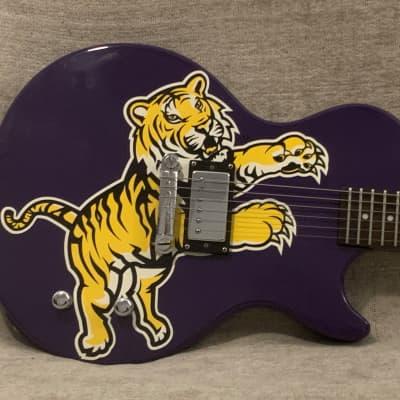 2004 Epiphone Collegiate Les Paul Junior LSU Louisiana State University Tiger Guitar Purple & Yellow Officially Licensed + Original Gig Bag for sale