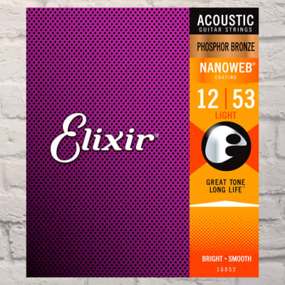 Elixir E16052 Nano Light Phosphor Bronze Acoustic Strings 12-53