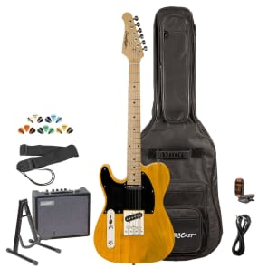 Sawtooth ET Series Left-Handed Electric Guitar with Gig Bag, 10 Watt Amp, and Accessories, Butterscotch with Black Pickguard for sale