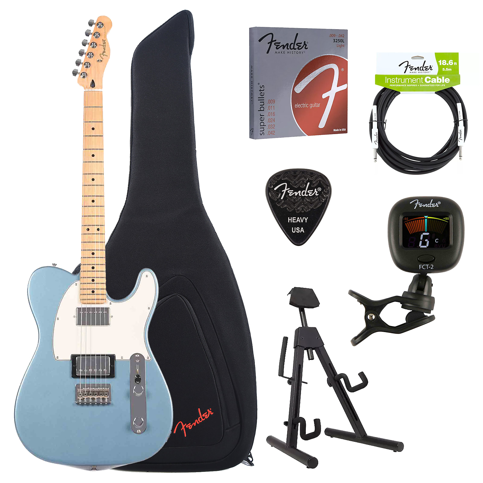 Fender Telecaster Hh >> Fender Player Telecaster Hh Tidepool Bundle W Fender Gig Bag Stand Cable Tuner Picks And Strings