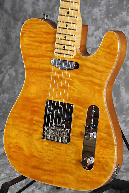 Fender select carved maple top telecaster amber reverb