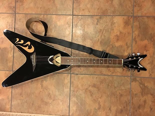 dean flying v acoustic electric guitar vco cbk black nice reverb. Black Bedroom Furniture Sets. Home Design Ideas