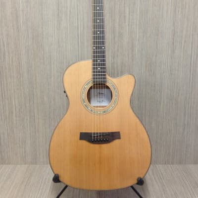 Klema K200JC-CE Satin / Natural Solid Cedar Top,Jumbo Acoustic Guitar, Cutaway, EQ+Free Gig Bag for sale
