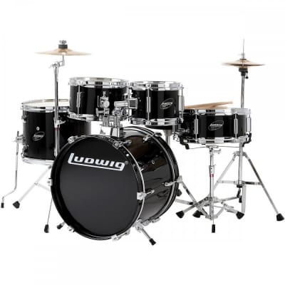 """Ludwig Junior Outfit 5x8 / 5x10 / 10x13 / 10x16 / 4x12"""" Drum Set with Hardware and Cymbals"""