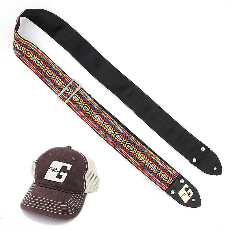 Guyatone Limited Hand-Made Vintage NEW Guitar Straps, NOS Material! (Nylon Back) + FREE HAT(limited)