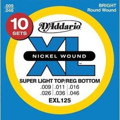 D'Addario EXL125-10P Nickel Wound Electric Guitar Strings, Super Light Top / Regular Bottom Gauge 10-Pack