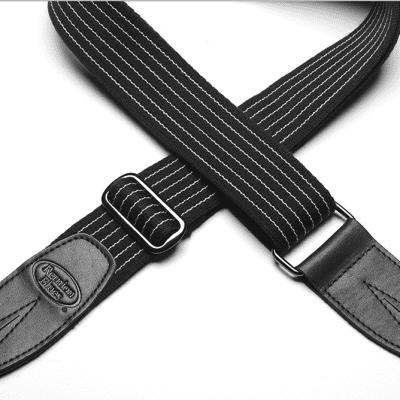 Reunion Blues Merino Wool Guitar Strap - Black Pinstripe w/ Black Leather Ends