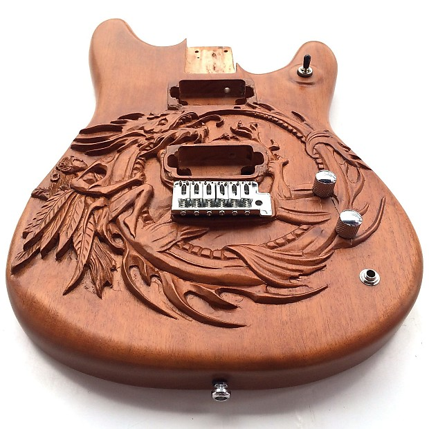 diy guitar kit mustang custom carved fairy dragon mahogany reverb. Black Bedroom Furniture Sets. Home Design Ideas