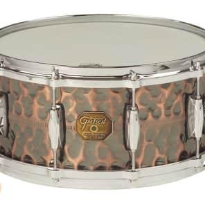 """Gretsch G4168HC USA Hammered Antique Copper 6x13"""" 6-Lug Snare Drum"""
