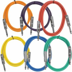 """Seismic Audio SASTSX-2BGORYP 1/4"""" TS Patch Cable - 2' (6-Pack)"""