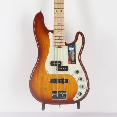 Fender American Elite Precision Bass Guitar MN in Tobacco Burst for sale