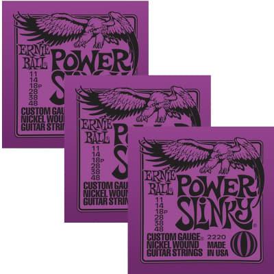ERNIE BALL Power Slinky Nickel Wound Electric Guitar Strings (2220) - 3 Pack