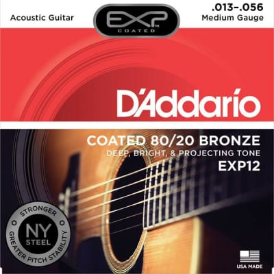 D'Addario EXP12 Coated 80/20 Bronze Acoustic Strings, Medium, 13-56