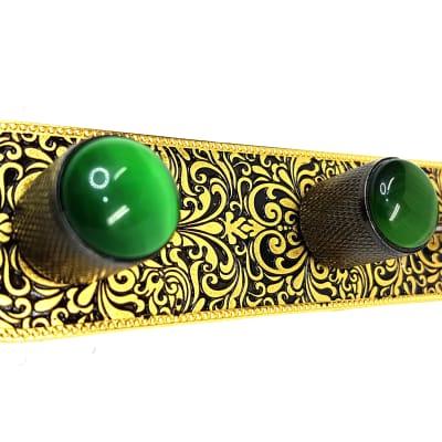 Brio Metal Engraved Tele Control Plate Gold on Black -Black Knobs Green Gem