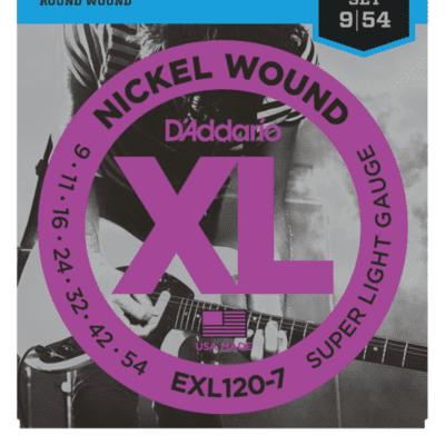D'Addario EXL120-7 7-String Nickel Wound Super Light Electric Strings 9-54