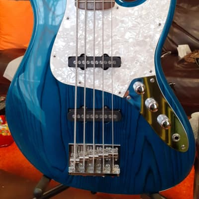 1998 ESP Custom Guitars (not LTD) J-Five J-5 See Thru Blue 5-String Bass for sale