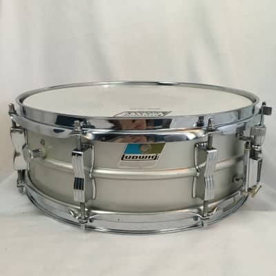 "Ludwig L-404 Acrolite 5x14"" Aluminum Snare with Rounded Blue/Olive Badge 1980"
