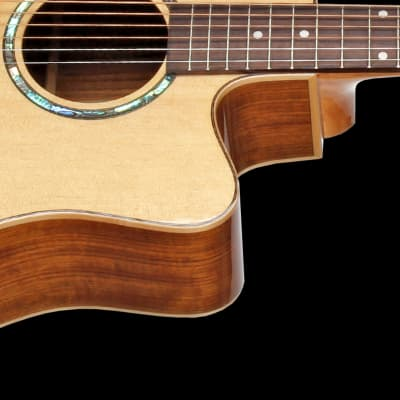Teton STS110CENT Electro-Acoustic Dreadnought Guitar & H/S Case, Solid Spruce Top, Ovangkol B&S