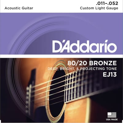 D'Addario EJ13 80/20 Bronze Acoustic Guitar Strings, Custom Light Gauge Standard