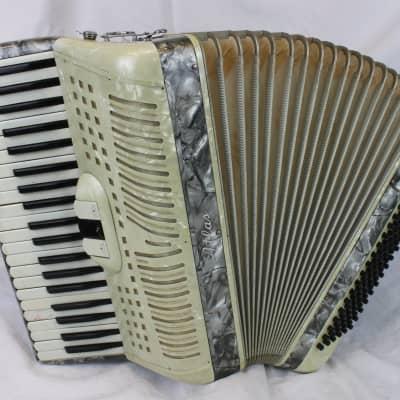 6037 - Cream Atlas Century Piano Accordion LM 41 120 for sale