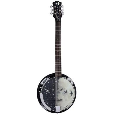Luna Moonbird 6-String Acoustic Banjo with Single Humbucker Pickup, 21 Frets, C Shape Neck, Rosewood Fingerboard, Black Satin for sale