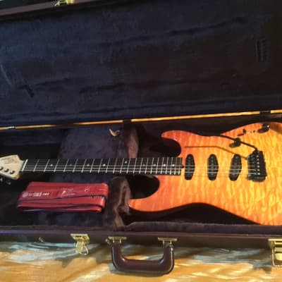 Pensa 1995 Strat Style Amber Burst Quilted ,Wilkinson Trem,SD Pickups,Hardshell Case VG Condition! for sale