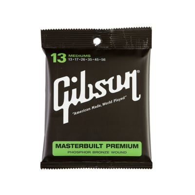 Gibson SAG-MB13 Masterbuilt Premium Phosphor Bronze Medium Acoustic Strings 13-56 for sale
