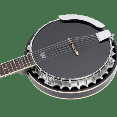 Ortega OBJE356-SBK-L Raven Series Banjo 6 String Lefty Satin Black + Gigbag