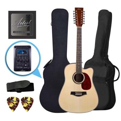 Artist LSP12CEQNT Beginner 12 String Acoustic Pack with EQ + Hard Case for sale