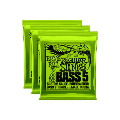 Ernie Ball 2836 Regular Slinky Bass 5-String 45-130 3 Pack Bundle