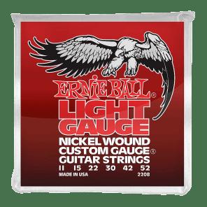 Ernie Ball 2208 Light Nickel Wound Electric Guitar Strings w/ Wound G (11-52)
