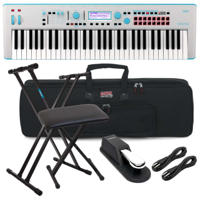 Korg KROSS 2 61-Key Synthesizer Workstation (Gray-Blue), Keyboard Stand, Bench, (2) 1/4 Cables, Sustain Pedal, Gator GKB-61 Bundle
