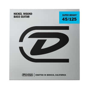 Dunlop DBSBN45125 Super Bright Nickel-Plated Steel 5-String Bass Strings - Medium (45-125)