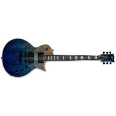 ESP LTD EC-1000 Guitar, Poplar Burl Top, Macassar Ebony, Blue Natural Fade