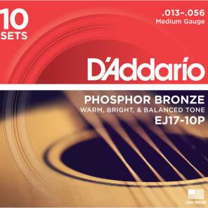 D'Addario EJ17-10P Phosphor Bronze Acoustic Guitar Strings Medium 13-56 10 Sets Quick Ship Box