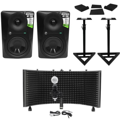 "(2) Mackie MR524 5"" 50w Powered Studio Monitors+Condenser Mic+Stands+Pads+Shield"