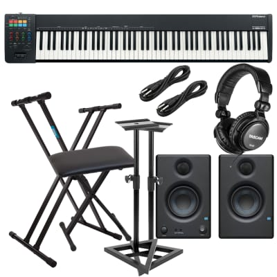 Roland A-88MKII MIDI Keyboard Controller, Keyboard Stand, Bench, Presonus Eris3.5 Monitors, Monitor Stands, (2) 1/4 Cables, Tascam TH02 Bundle