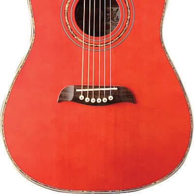 Oscar Schmidt 1/2 Size Acoustic Guitar, Select Spruce Top, Trans Red, OGHSTR for sale
