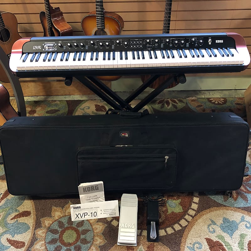 Korg SV-1 88-Key Stage Vintage Digital Piano Keyboard w/ Gator Case & Foot Pedals