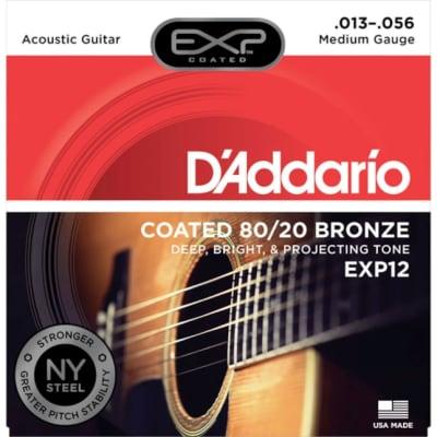 D'Addario EXP12 Coated 80/20 Bronze Acoustic Guitar Strings Medium 13-56