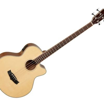 Tanglewood Roadster Series Folk Cutaway Style Hollow Body Acoustic-Electric Bass Guitar - Blackwood/Natural Gloss Finish for sale