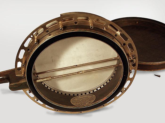 Gibson  TB-5 De Luxe Tenor Banjo (1925), ser. #8105-1, black hard shell case.