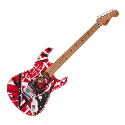 Used EVH Striped Series Frankie - Red/White/Black Relic w/ Maple FB