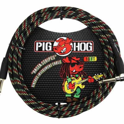 Pig Hog PCH10RAR 1/4' Straight to 1/4' Right-Angle Rasta Stripes Instrument Cable, 10 feet