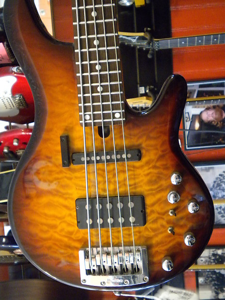 Ibanez Road Gear 505 5 String Bass Quilted Maple Sunburst   Reverb