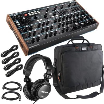 Novation Peak 8-Voice Polyphonic Synthesizer, Gator G-MIXER BAG-1818, Tascam TH02, (4) 1/4 Cables, (2) Midi Cables Bundle