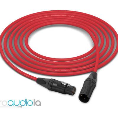 Mogami 2534 Quad Cable | Neutrik Gold XLR-F to XLR-M | Red 6 Feet | 6 Ft. | 6'