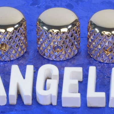 "Three Gold Vintage Tele Style Knobs With Super Heavy Knurling For 1/4"" Solid Shaft CTS Pots NEW!"