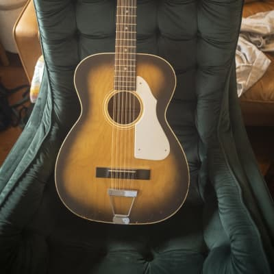 1960s Vintage Barclay 12-string acoustic guitar (Leadbelly) blondeburst + hard case for sale